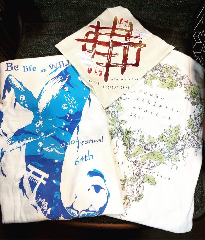 麻布時代のTシャツデザインなど